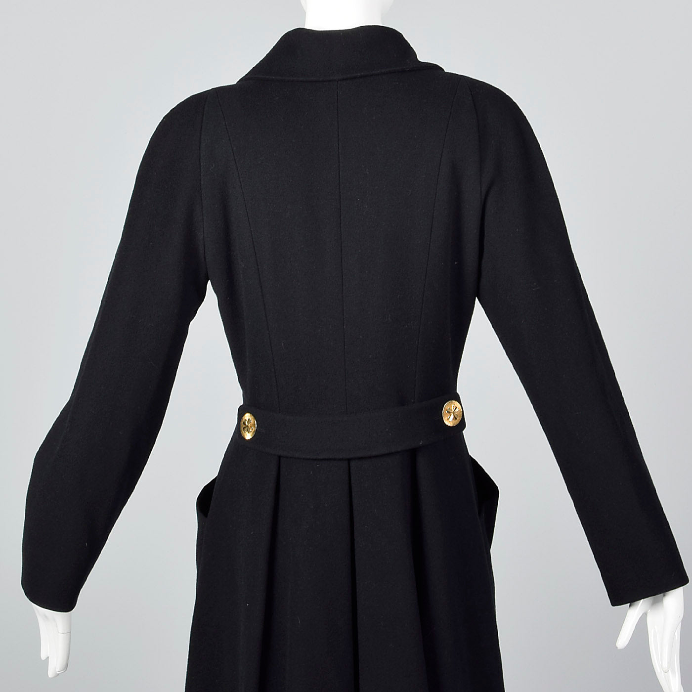 Extraordinary Chanel Black Cashmere Princess Coat with Clover Buttons