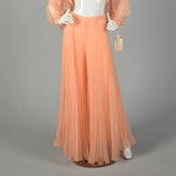 Small 1970s Orange Chiffon Palazzo Pants and Matching Top Outfit