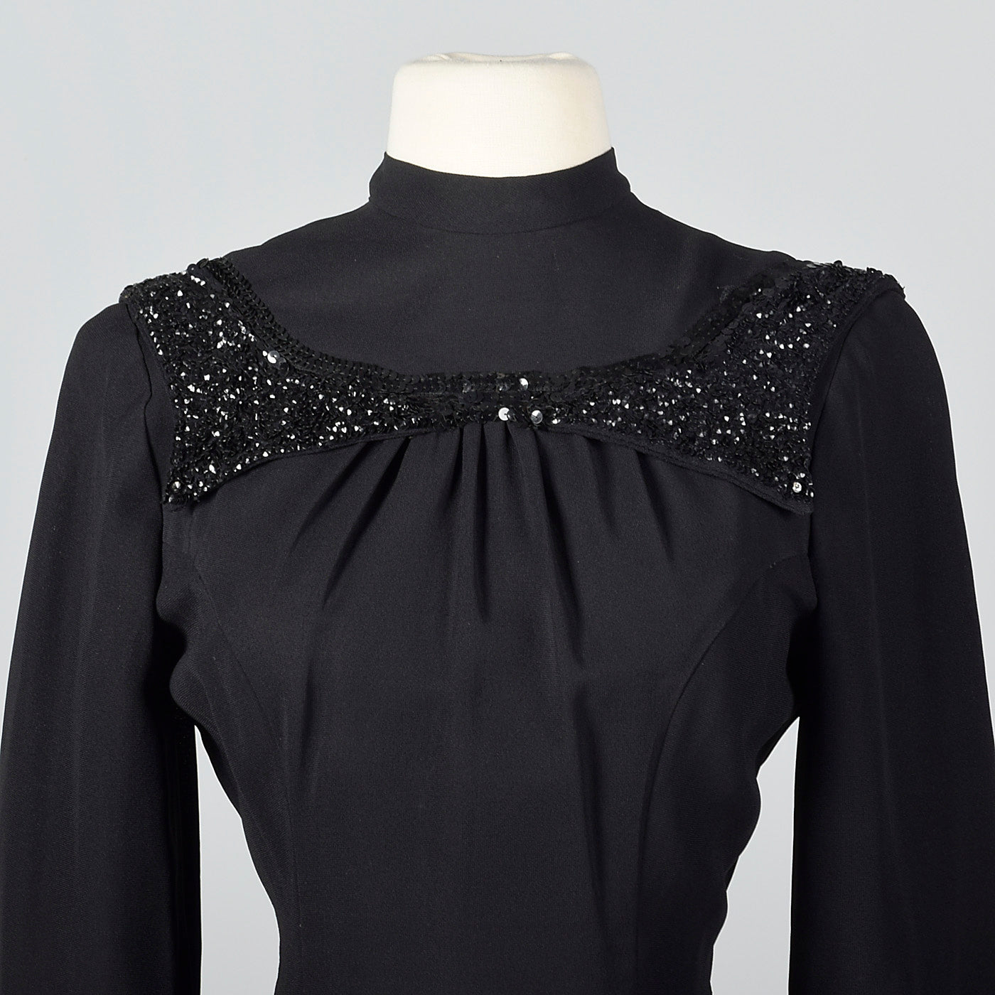 1940s Black Fitted Blouse with Sequin Trim
