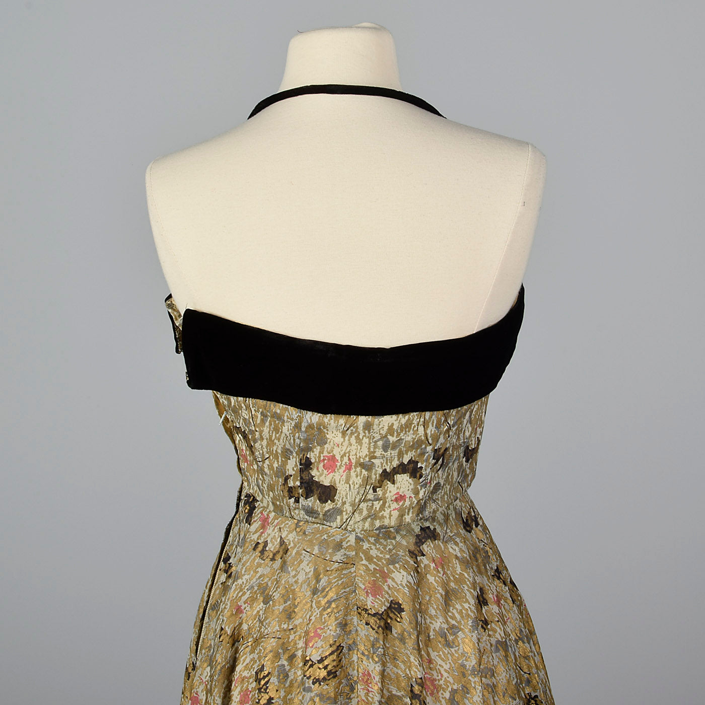 1940s Halter Dress with Abstract Gold Silkscreen Print