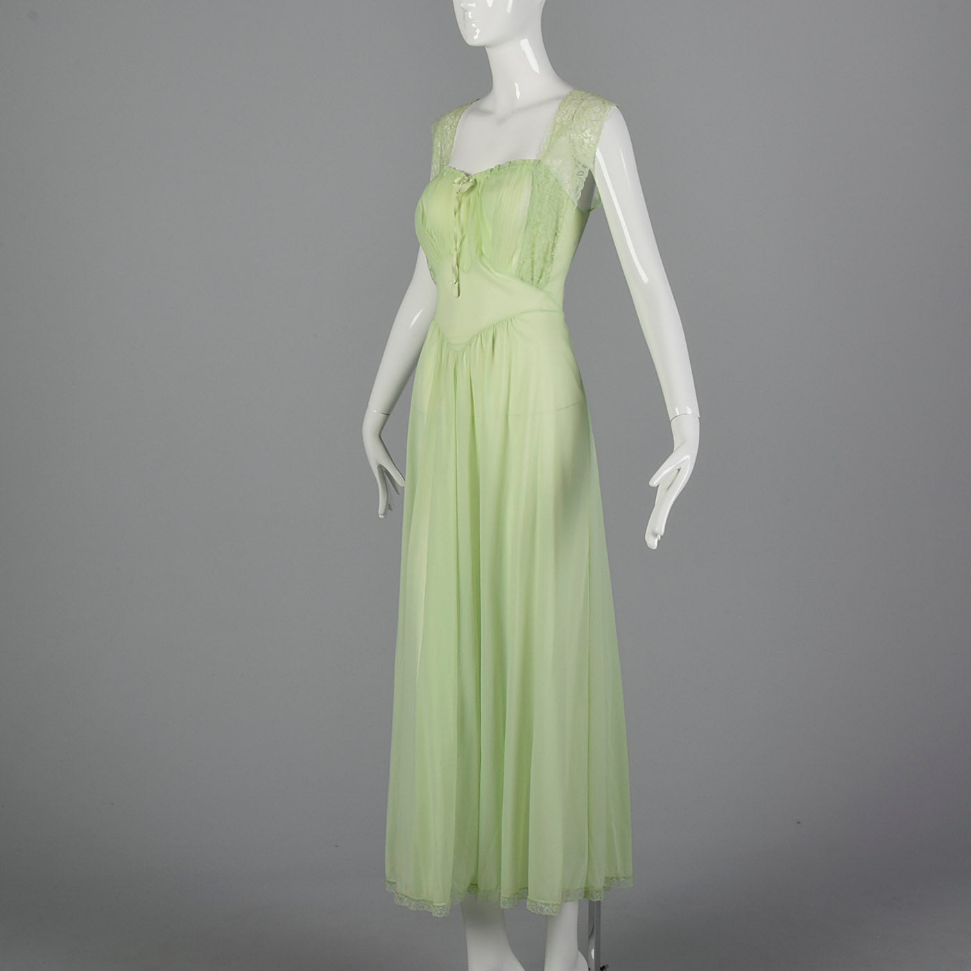 1950s Vanity Fair Green Nightgown with Crystal Pleat Bust