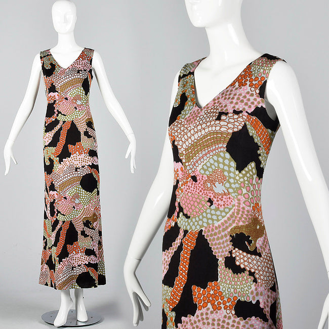 1960s Pierre Balmain Formal Maxi Dress in Psychedelic Knit