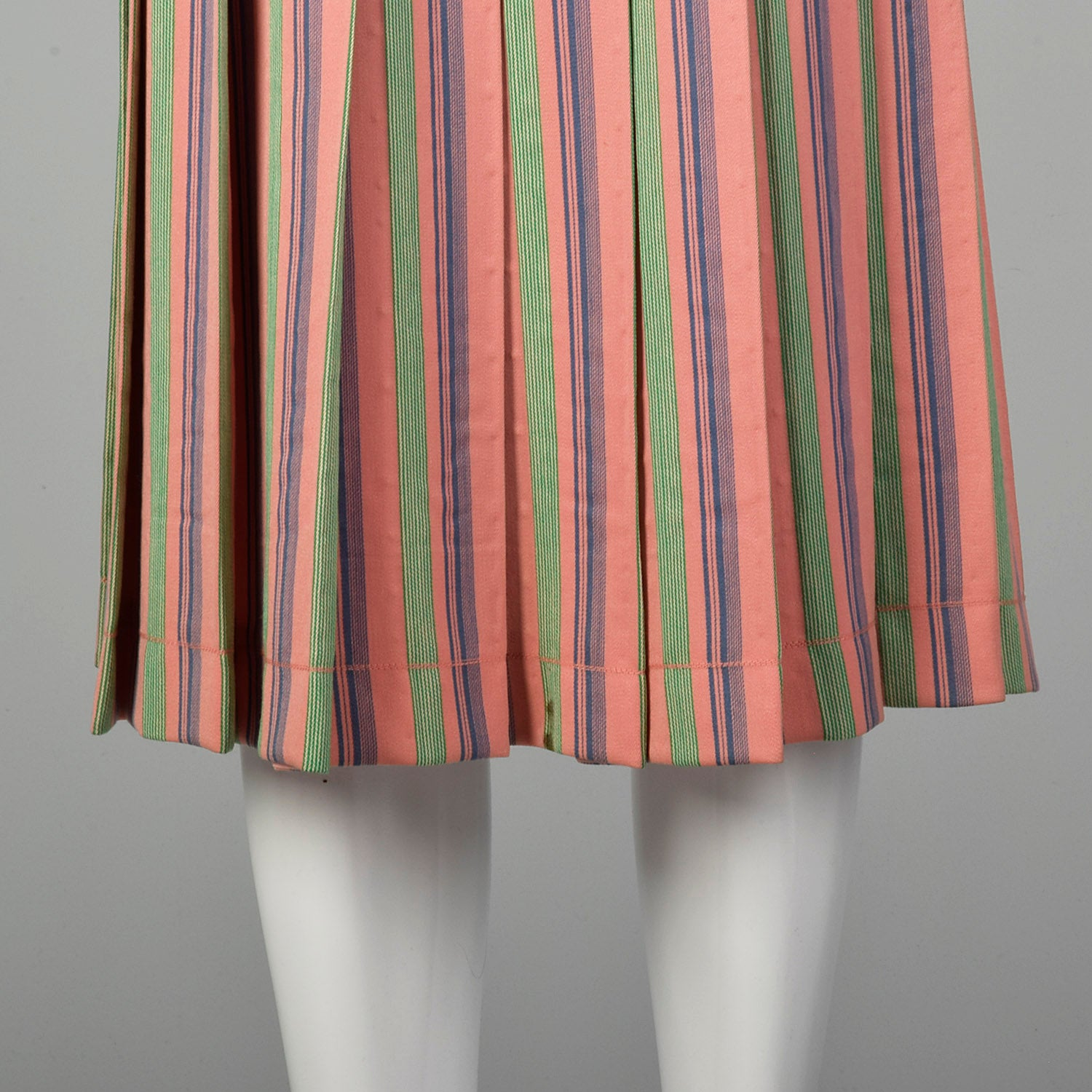Small Valentino Boutique 1960s Pink Stripe Pleated Skirt