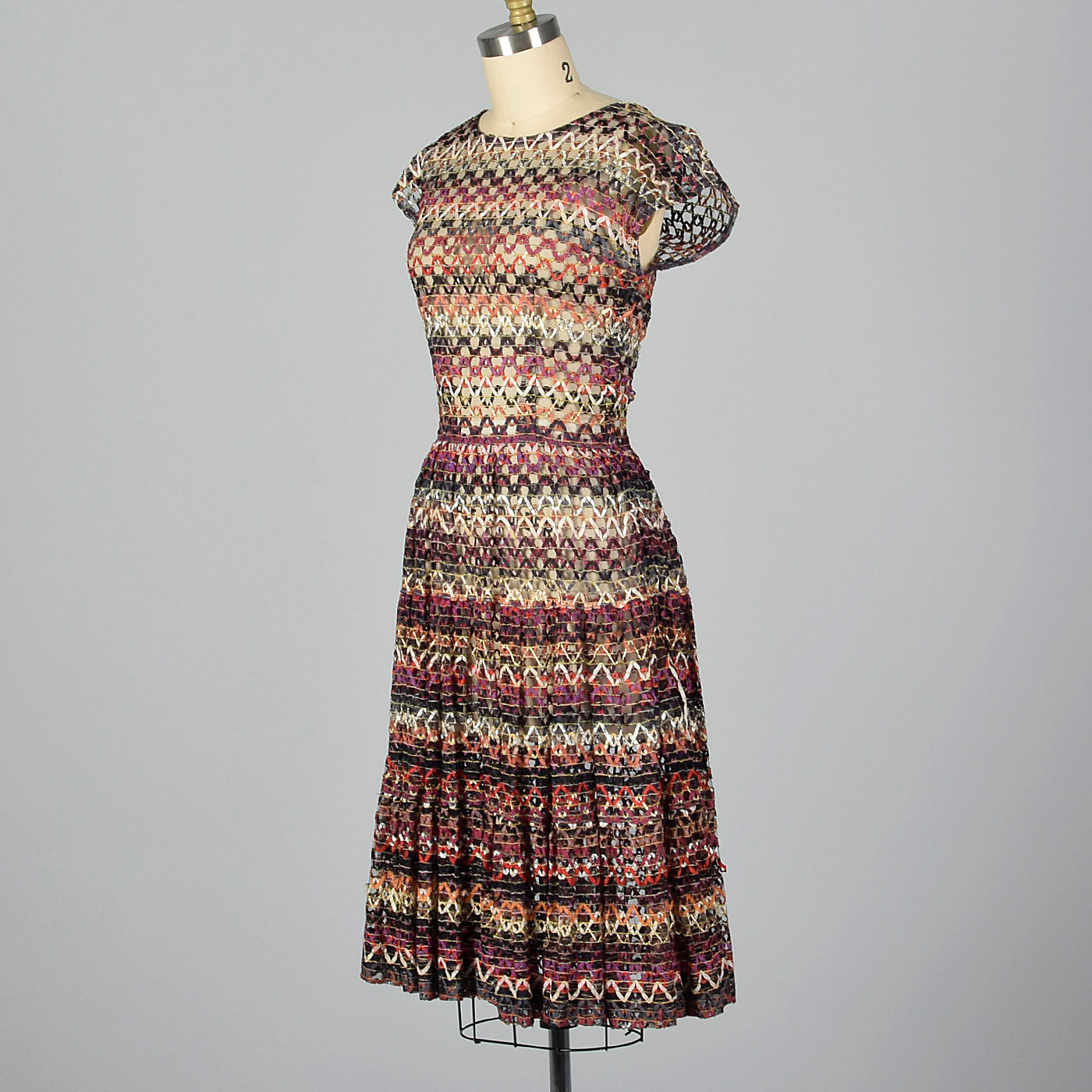 1950s Sheer Ribbon Dress
