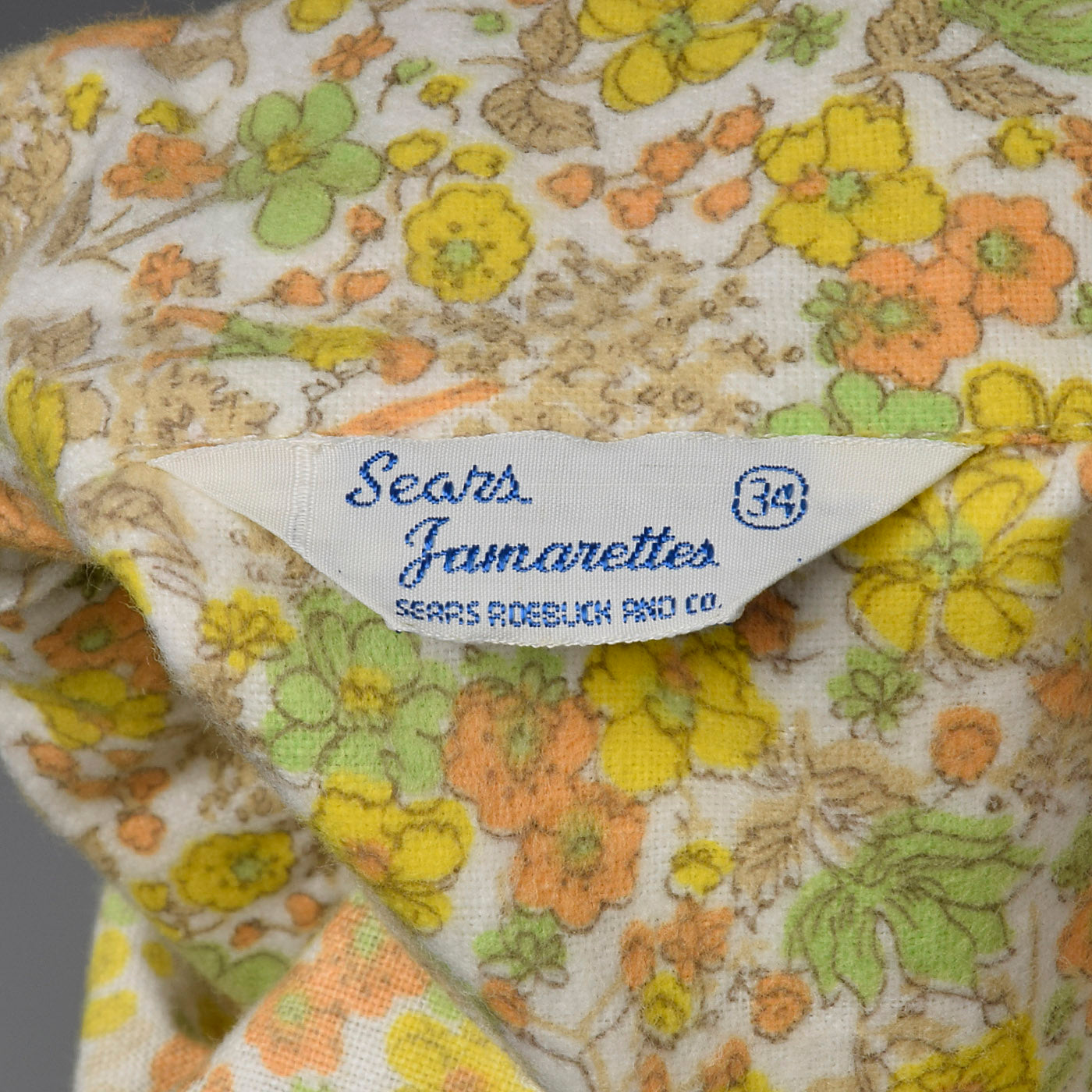 1960s Flannel PJ Set in Orange Floral Print