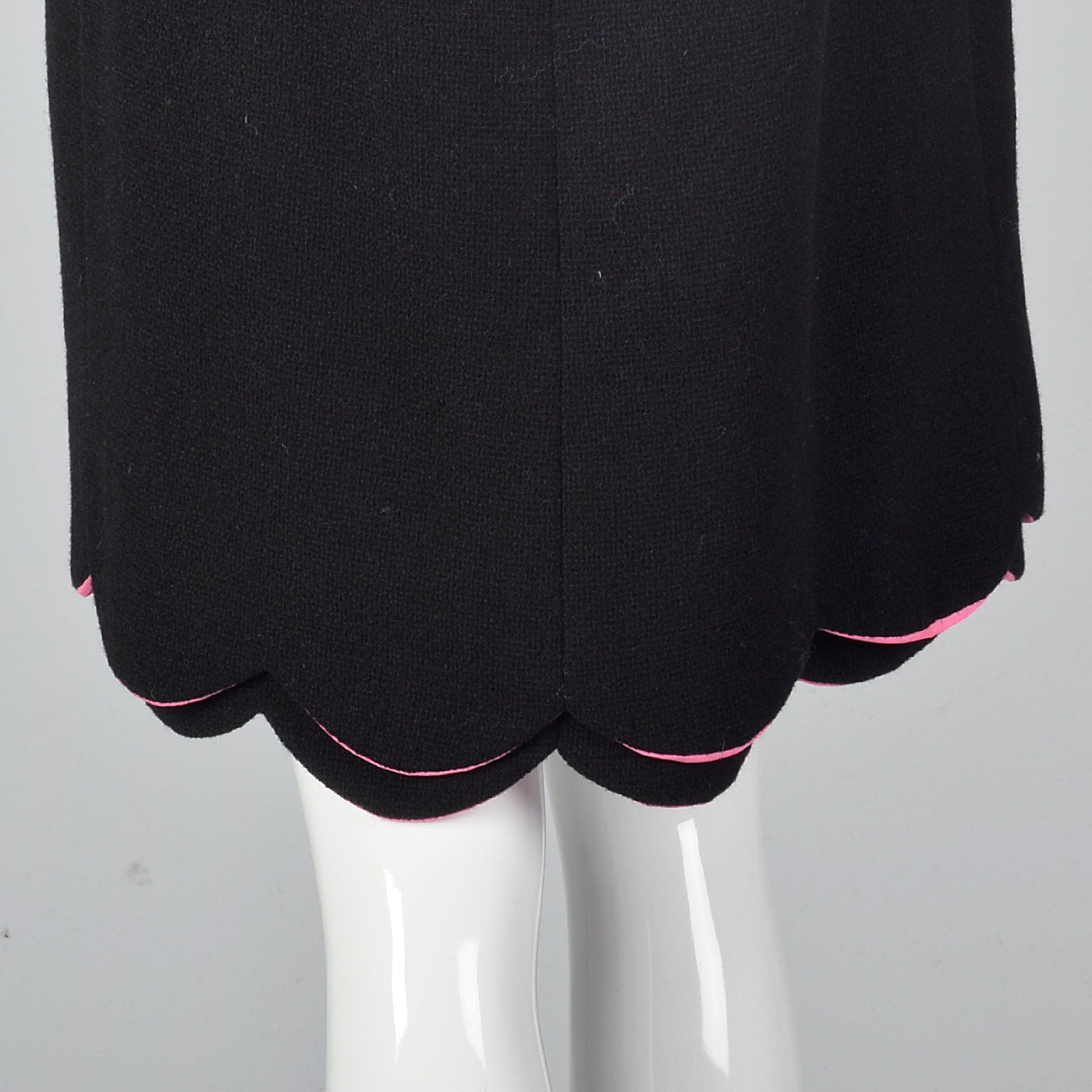 1960s Black Wool Dress with Pink Trim and Scallop Hem