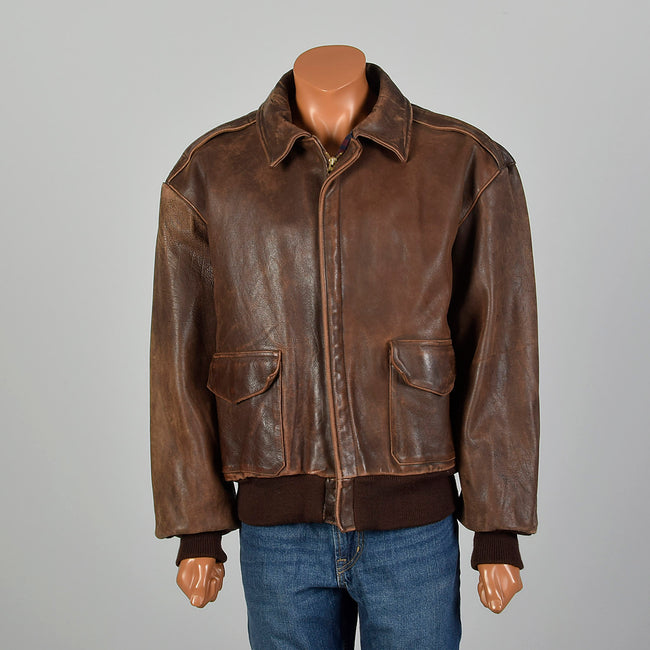 XL RRL Ralph Lauren Double RL A-2 Brown Leather Flight Jacket