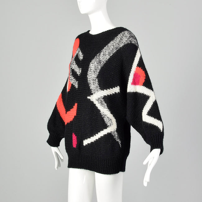 Medium Adolfo 1990s Black Geometric Sweater