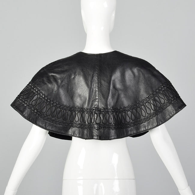 1980s Black Leather Capelet
