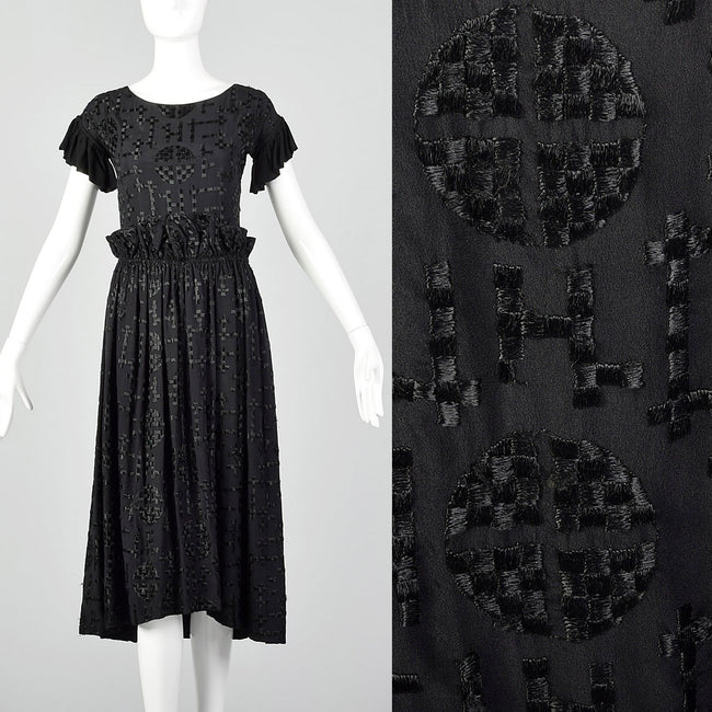 1930s Black Embroidered Deco Dress