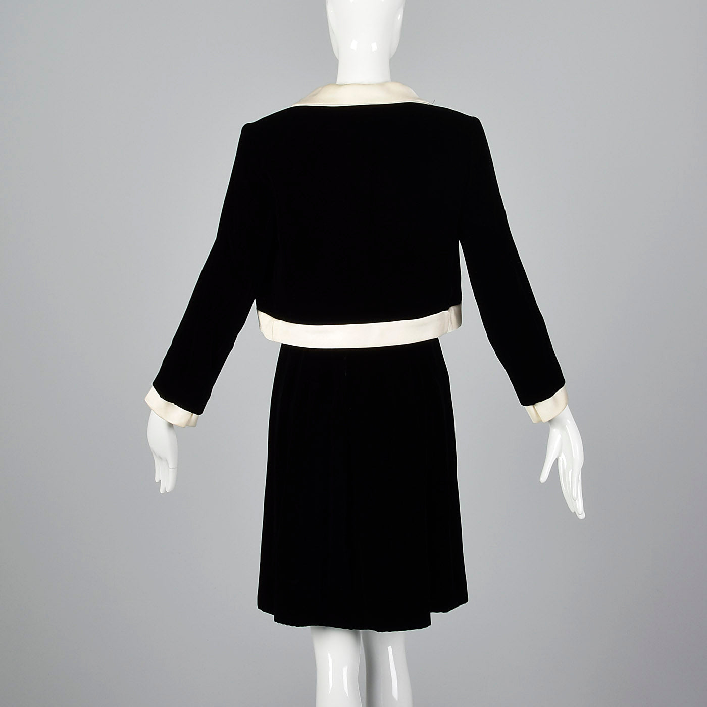 1960s Black Velvet Dress and Jacket Set