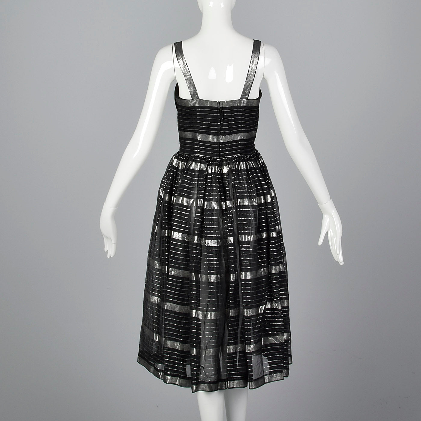 1950s Sheer Black and Silver Dress