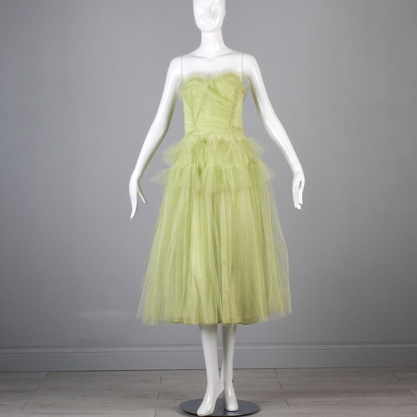 1950s Pale Green Party Dress with Tulle Layers