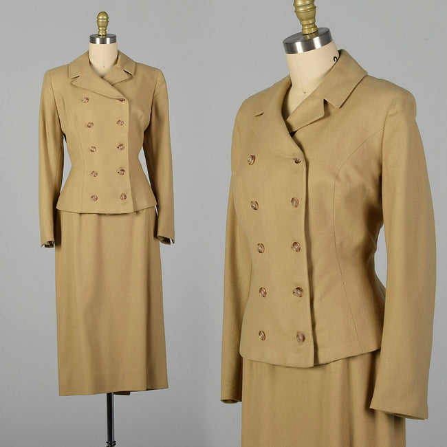 Small 1950s Tan Wool Skirt Suit