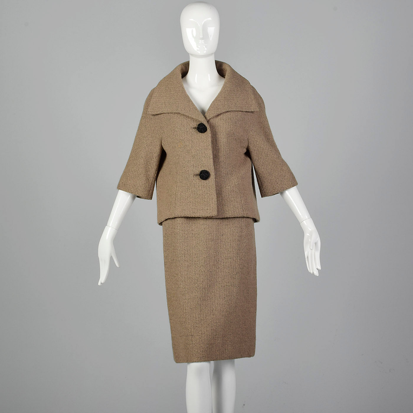 1950s Brown Woven Skirt Suit