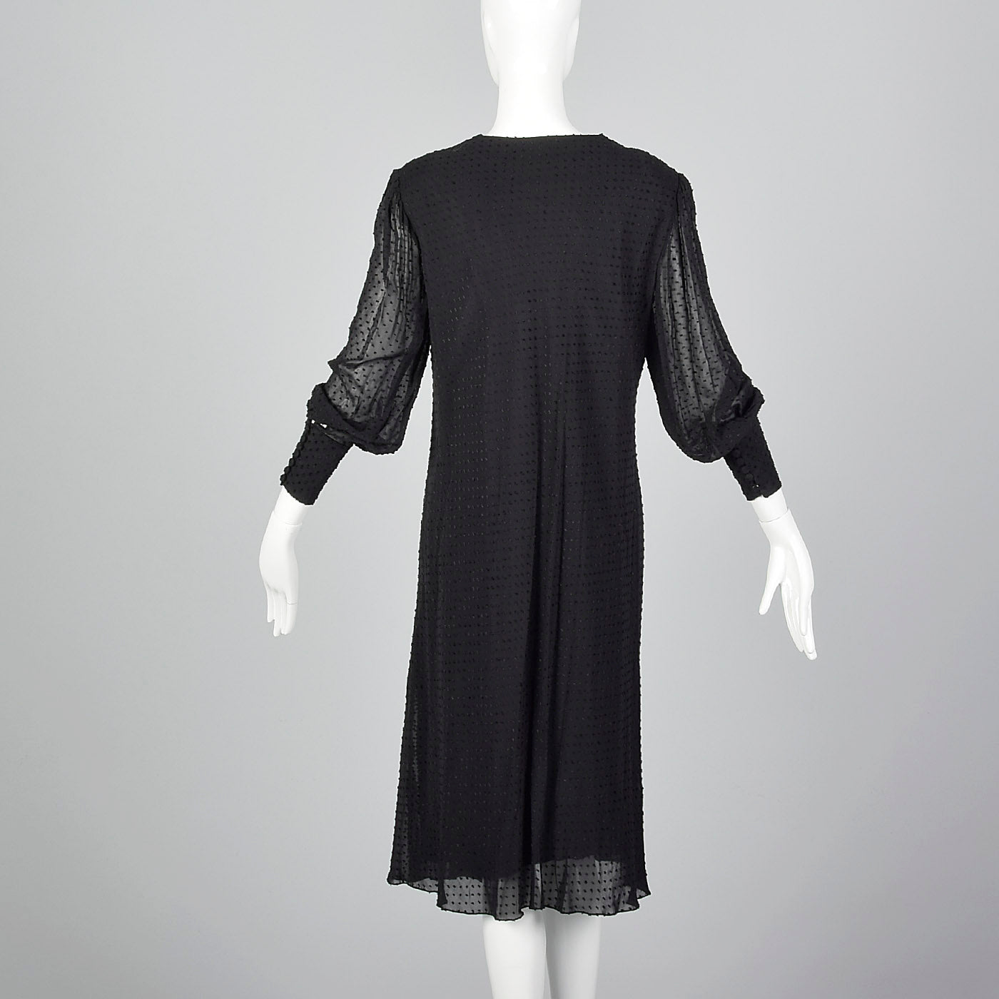 1980s Silk Devore Dress with Gather at Hip