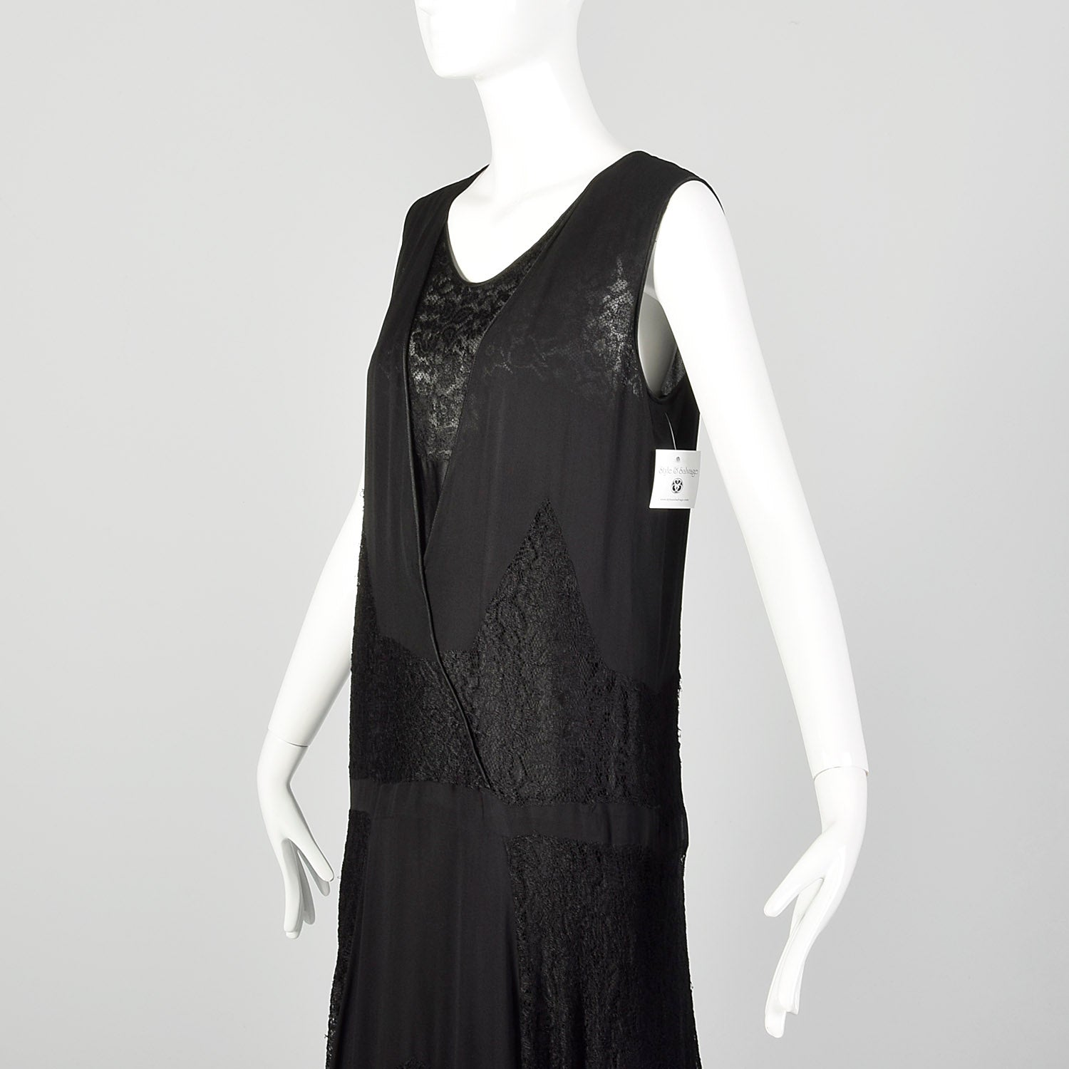 Medium 1920s Black Silk Dress Lace Panel Elegant Sleeveless Evening
