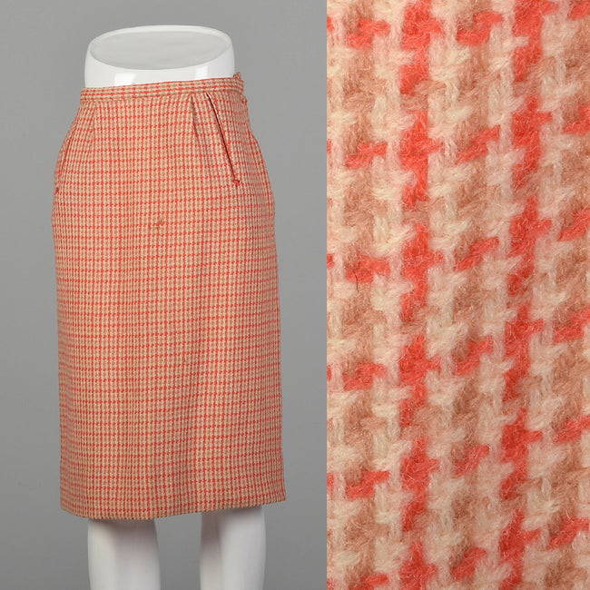 XS 1950s Pink Tweed Pencil Skirt