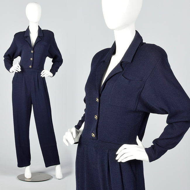 1980s St. John Blue Knit Jumpsuit