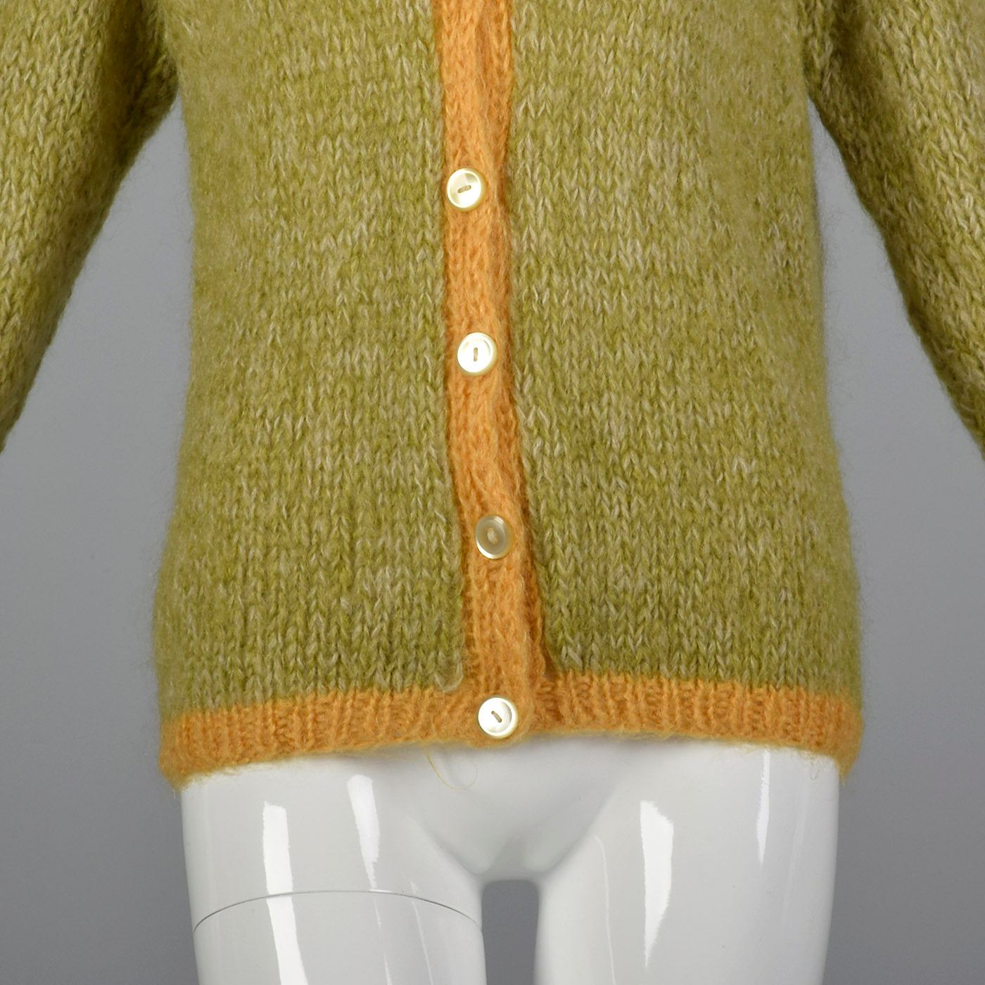 1950s Green Mohair Cardigan with Yellow Trim