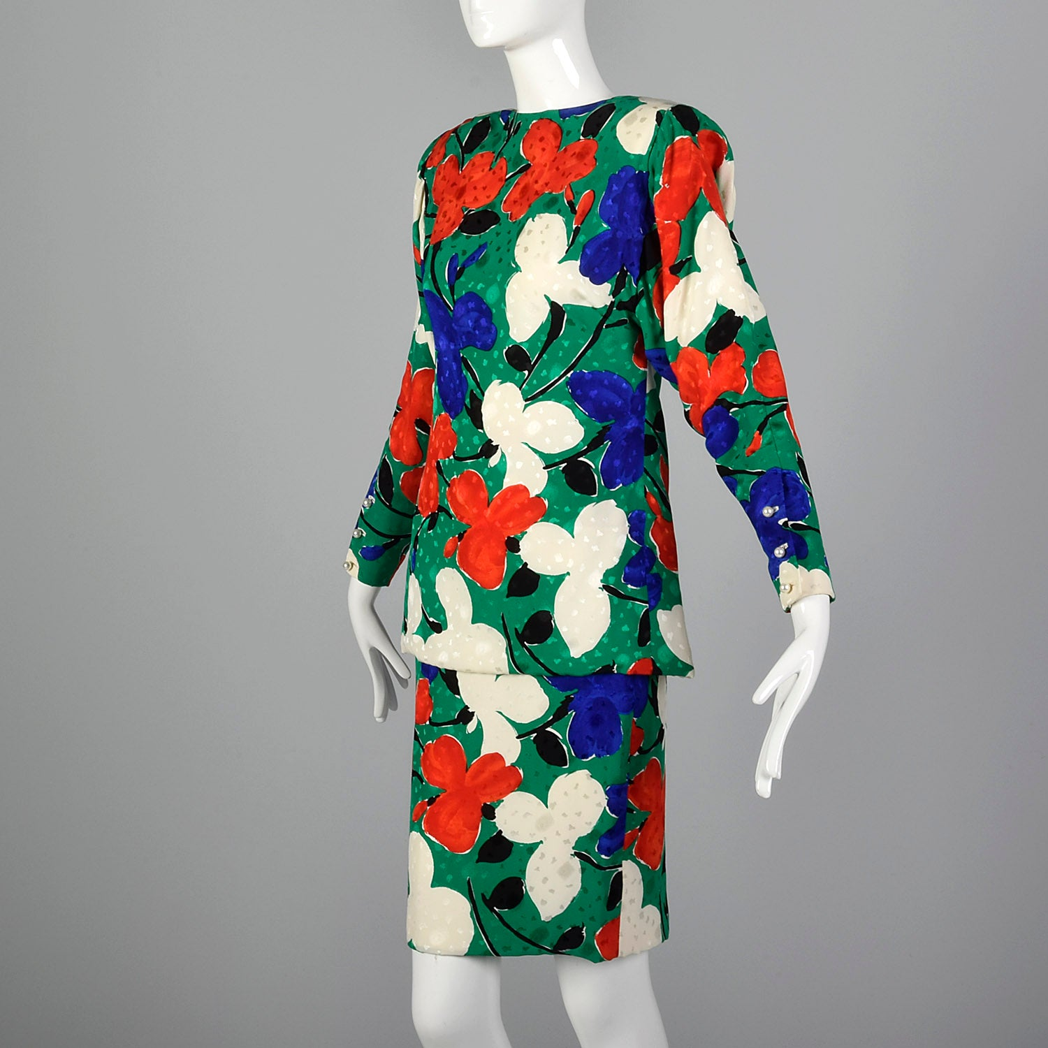 Small Galanos 1980s Abstract Floral Set