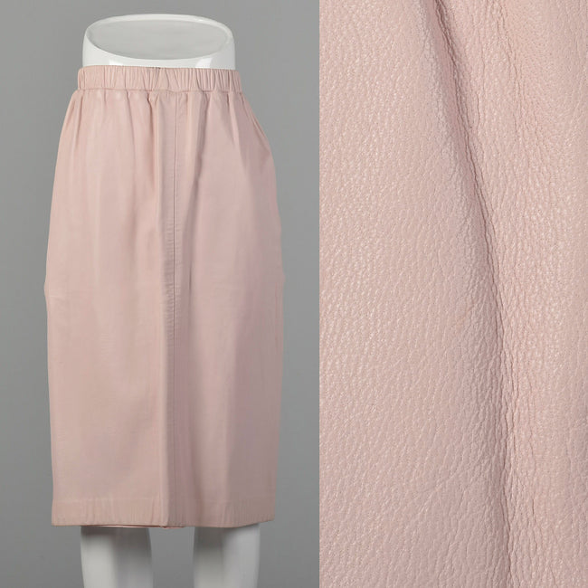 XS Pastel Pink Leather Skirt
