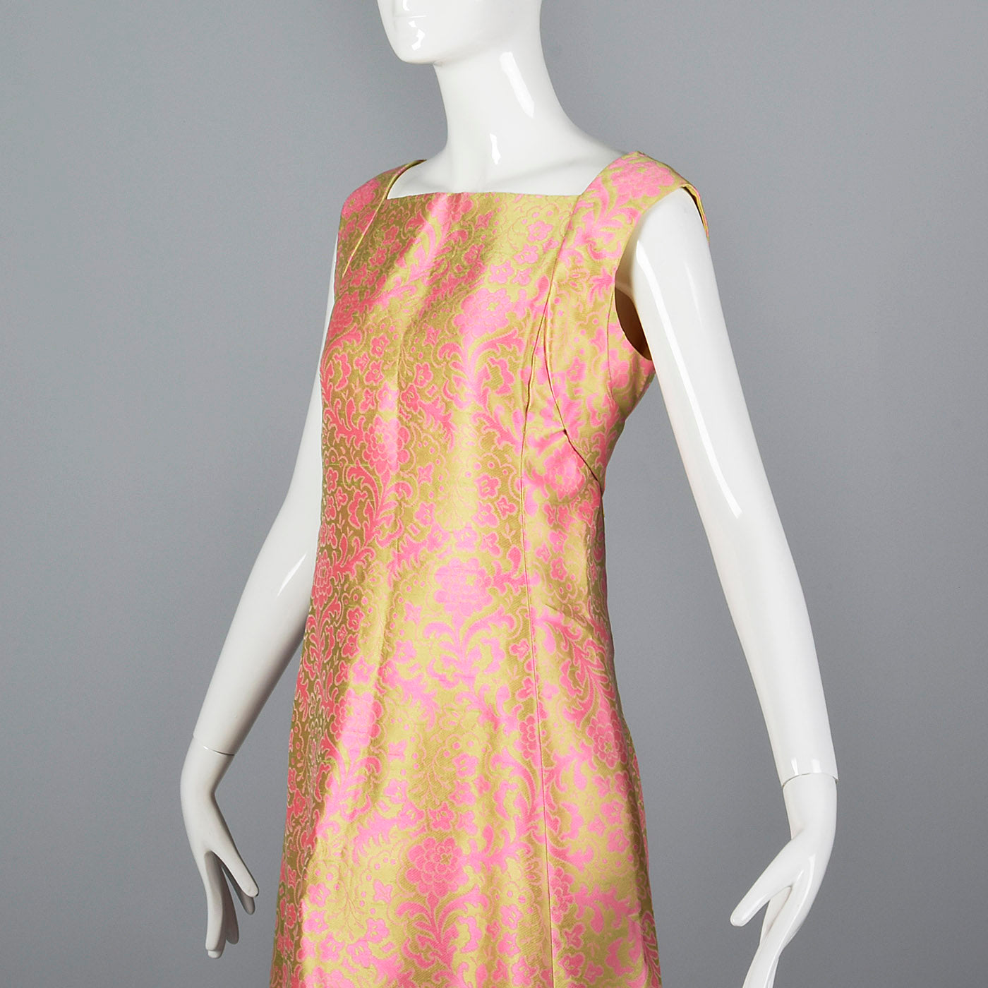 1960s Malcolm Starr Sleeveless Maxi Dress in Pink and Chartreuse Psychedelic Brocade