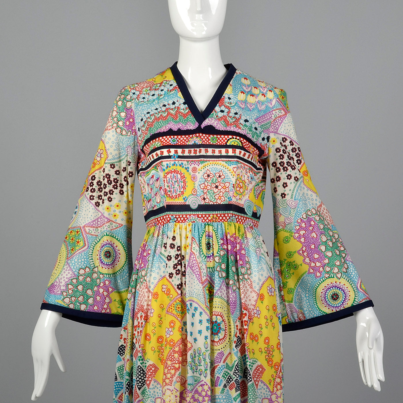 1970s Psychedelic Print Maxi Dress with Bell Sleeves
