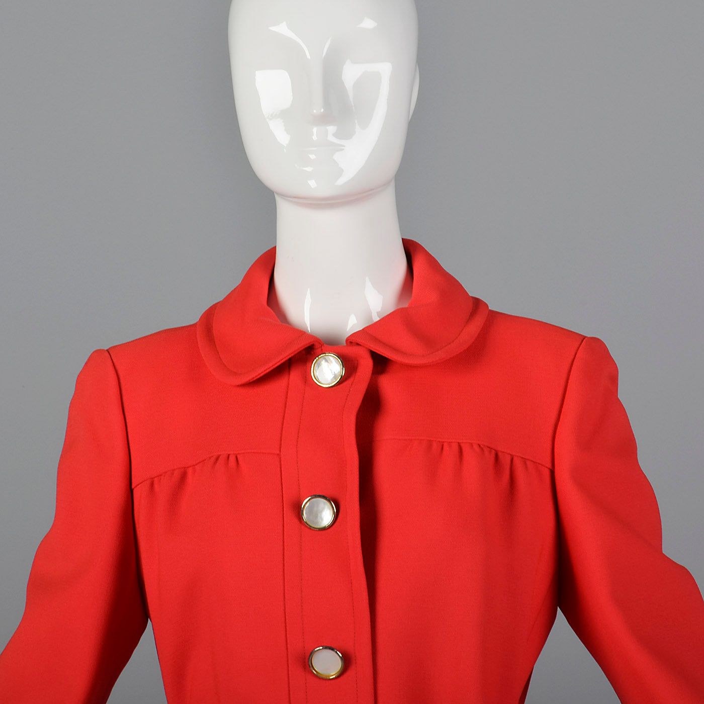 1960s Bright Red Coat Dress