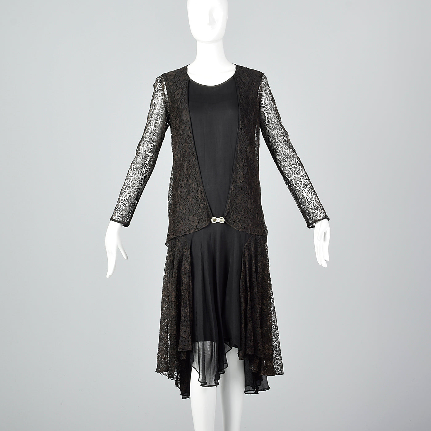 1920s Black Silk Dress with Lace Jacket
