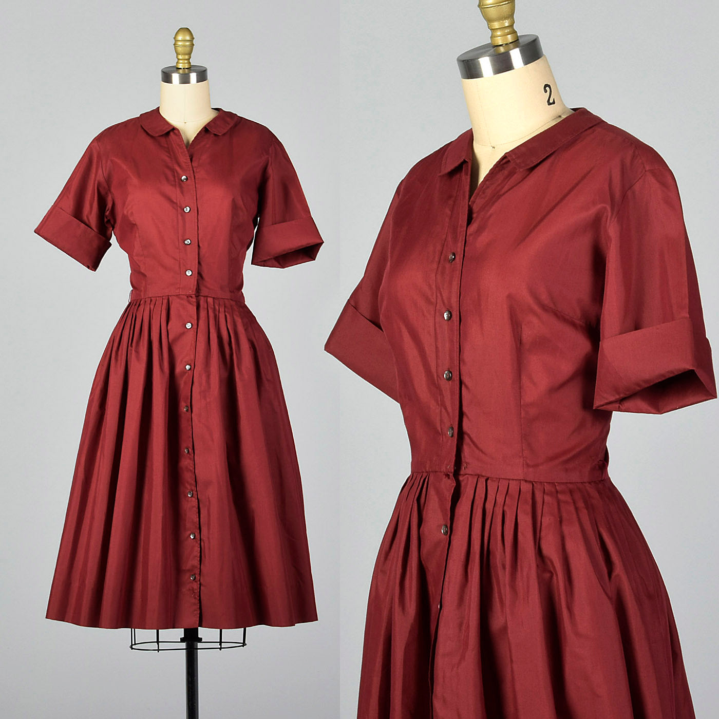 1960s Burgundy Shirt Dress