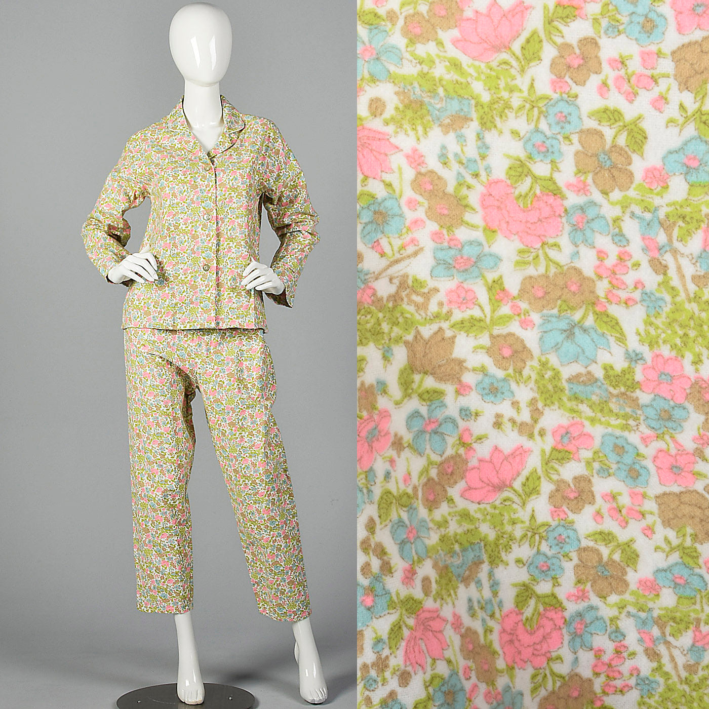 1960s Deadstock Flannel Pajamas in Pink Floral