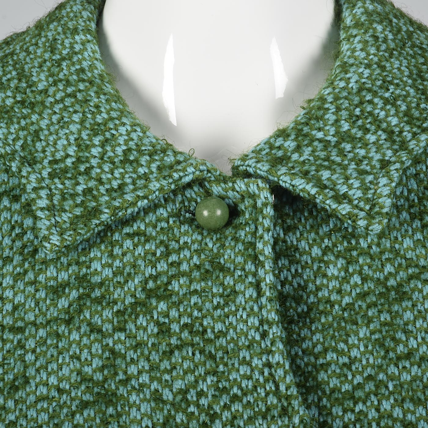 1960s Two Piece Green Tweed Suit