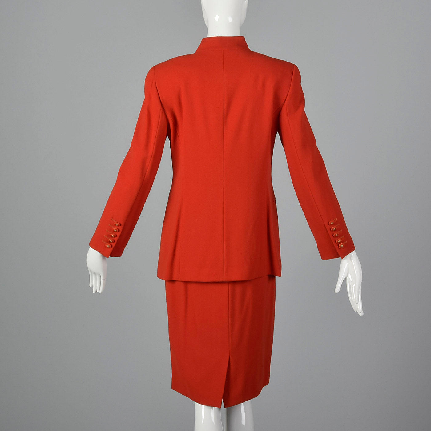 1980s Louis Feraud Red Skirt Suit in Wool Crepe