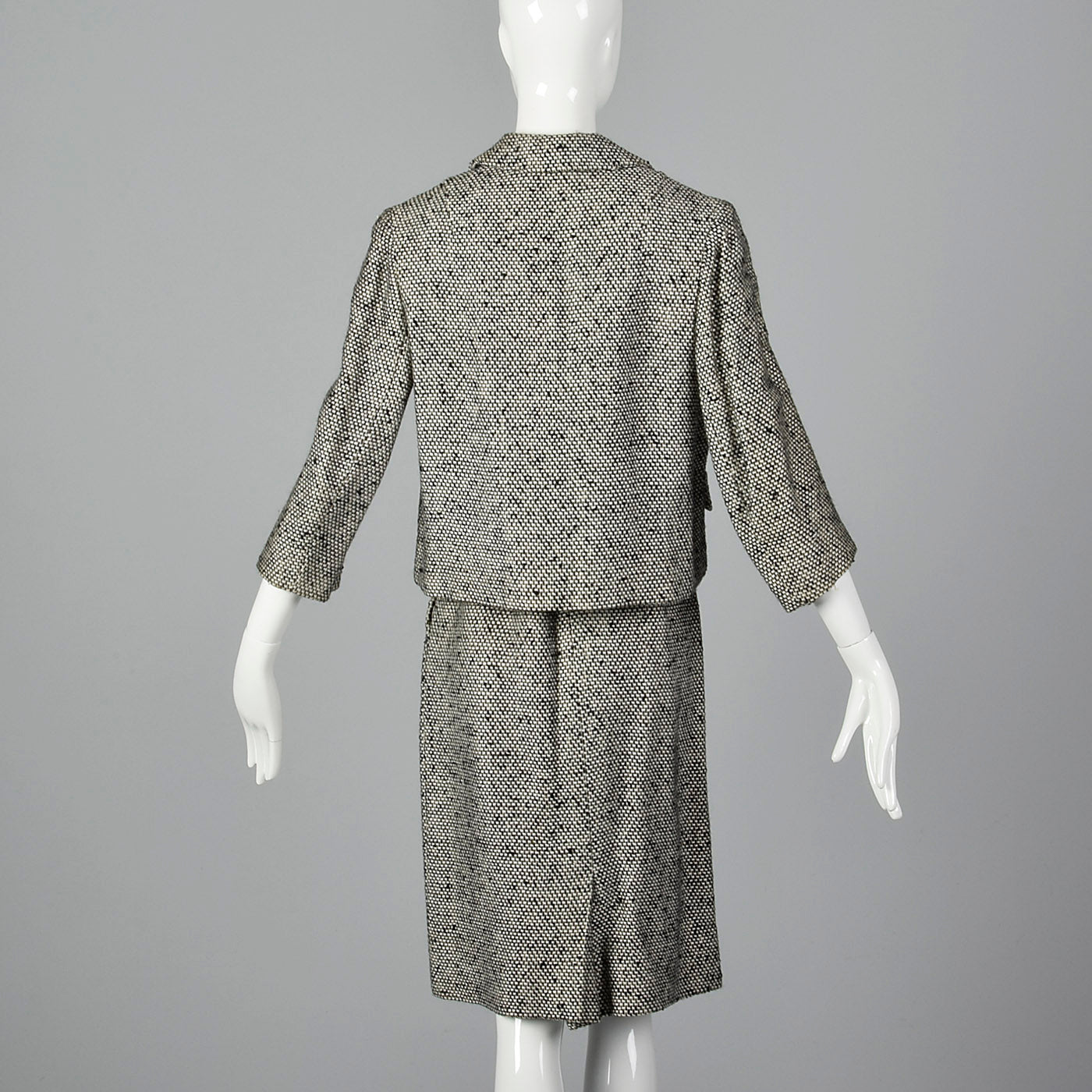1960s Black and White Tweed Skirt Suit