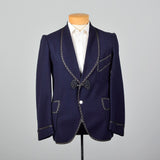 1950s Navy Blue Smoking Jacket with Braided Trim