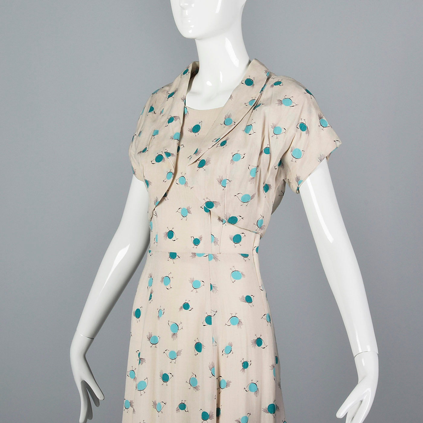 1950s Novelty Print Dress with Abstract Blue Birds