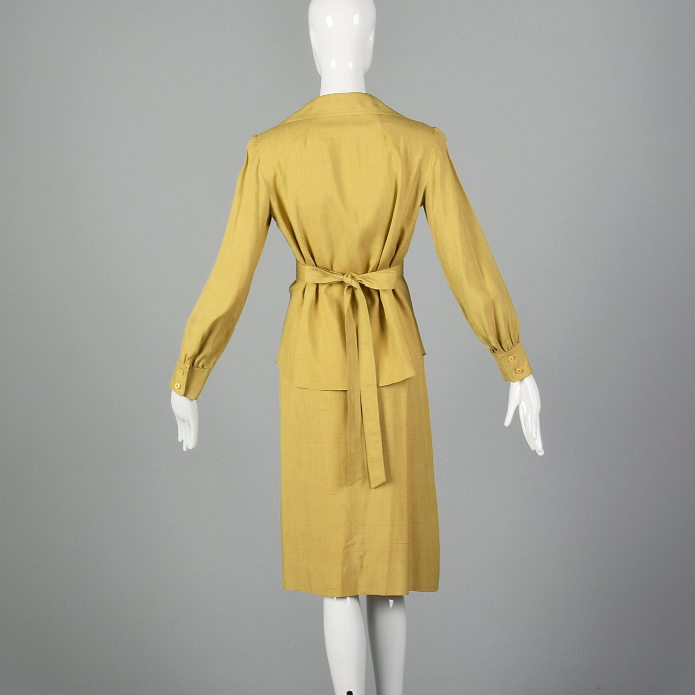 1970s Three Piece Silk Shirt and Wrap Skirt with Belt