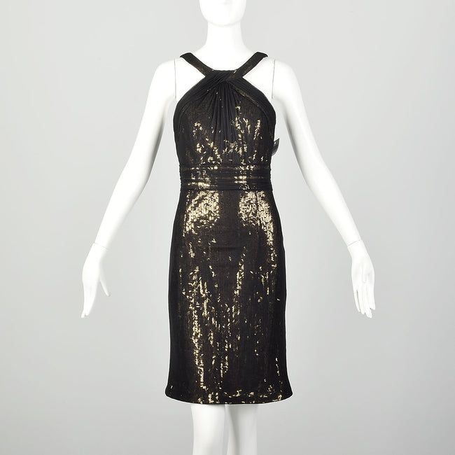 Medium Theia Black Party Dress Sheer Mesh Sleeveless Gold Sequin Mini