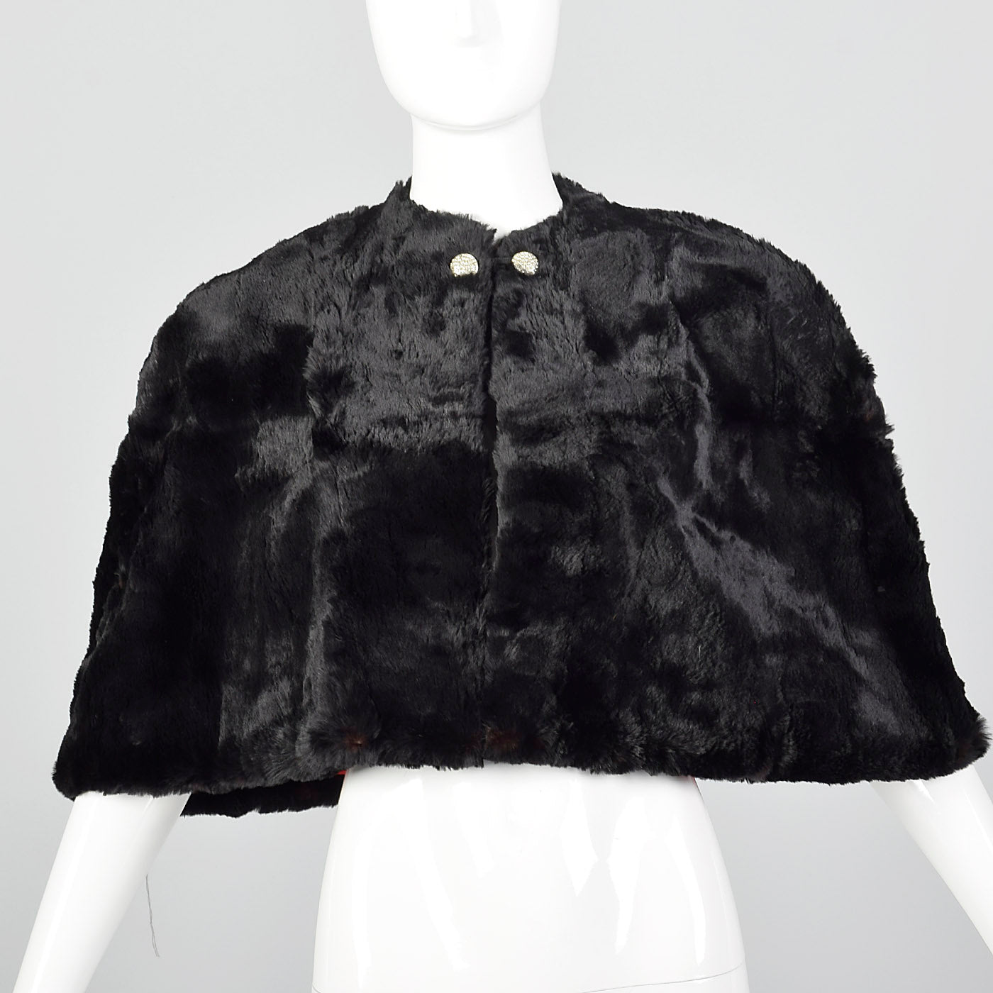 1940s Black Sheared Fur Stole with Red Satin Lining