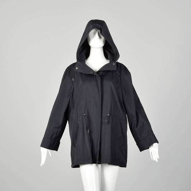 Large Lightweight Black Raincoat Hood Drawstring Waist
