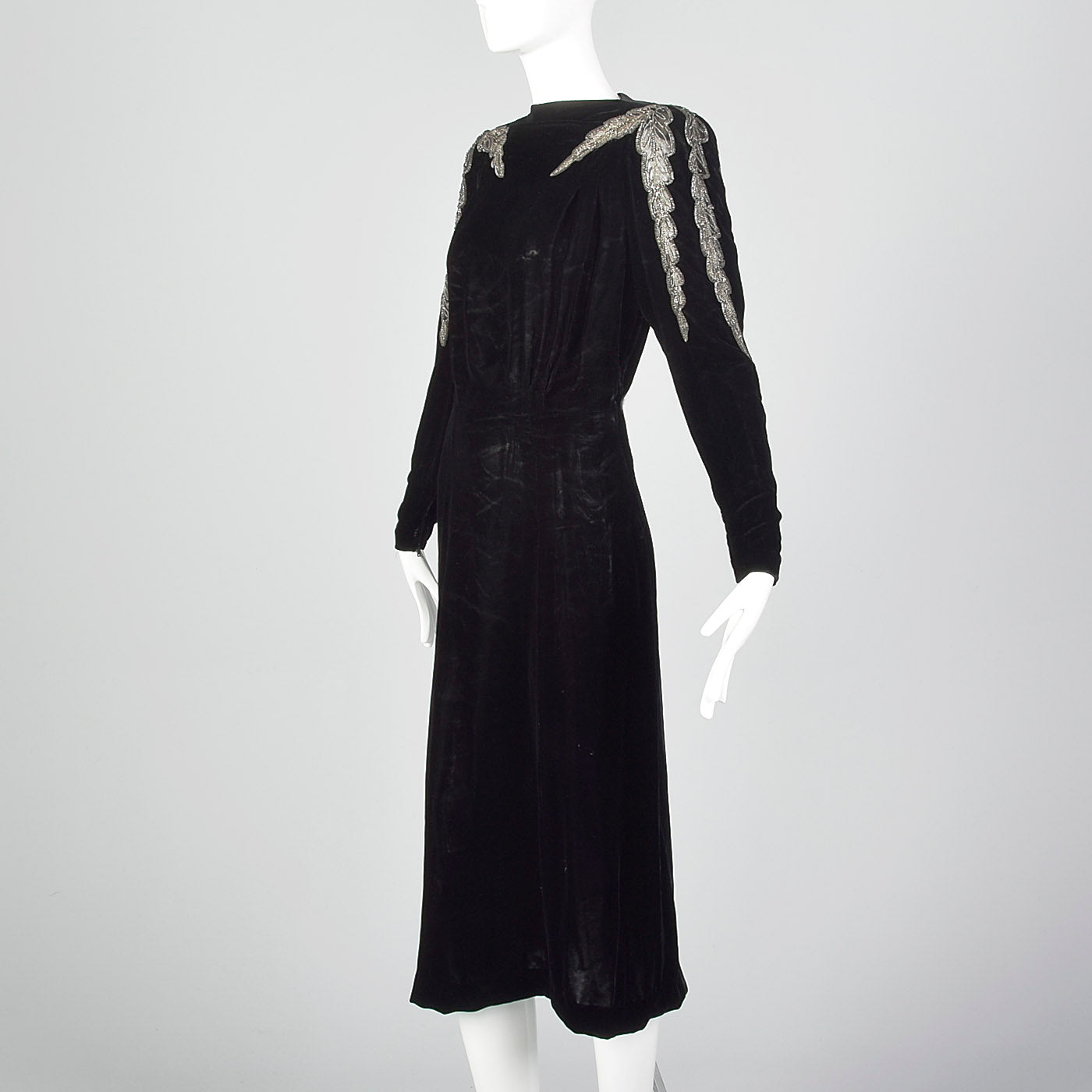 1940s Black Velvet Dress with Sheer Sleeve Design