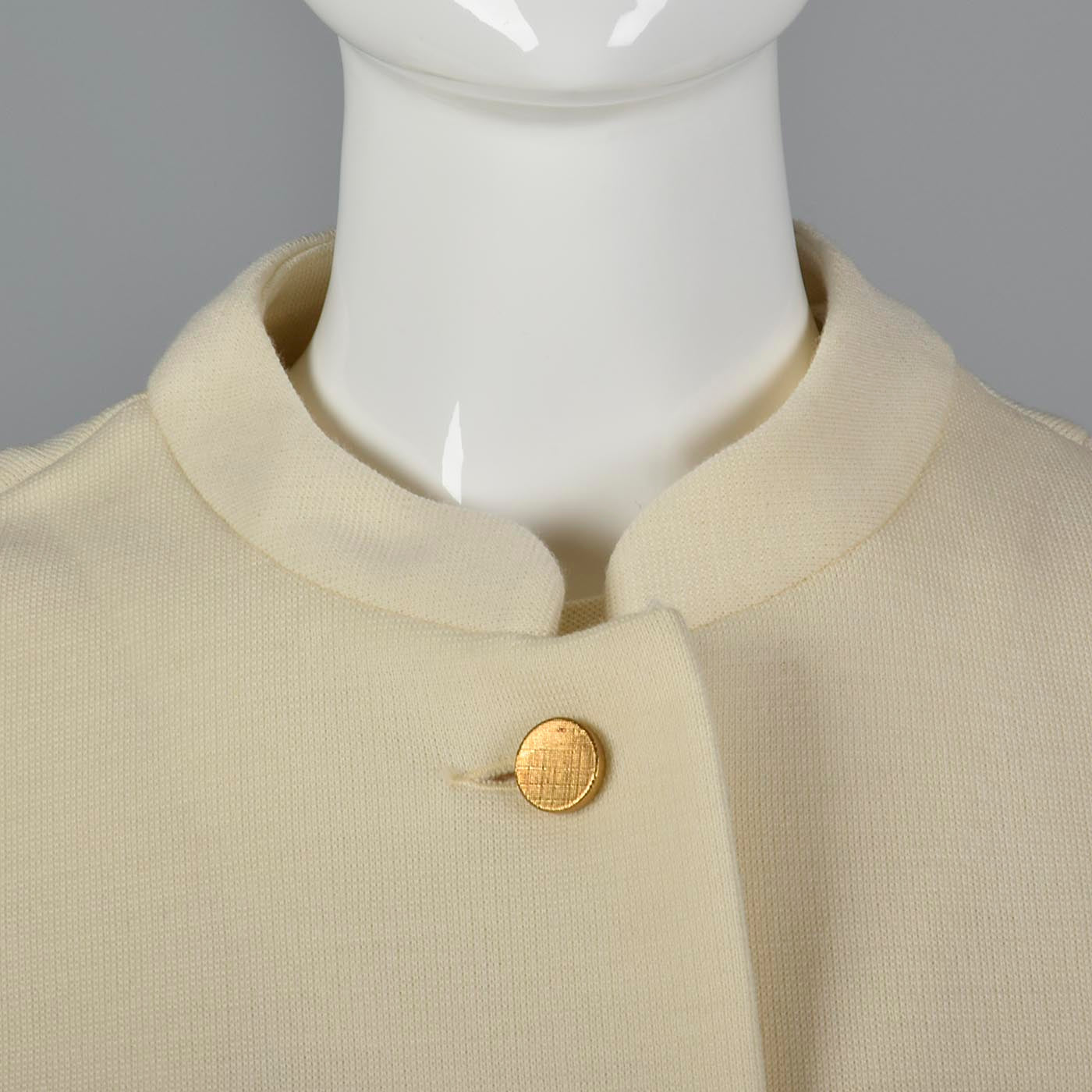 1960s Deadstock Cream Wool Knit Set with Gold Buttons