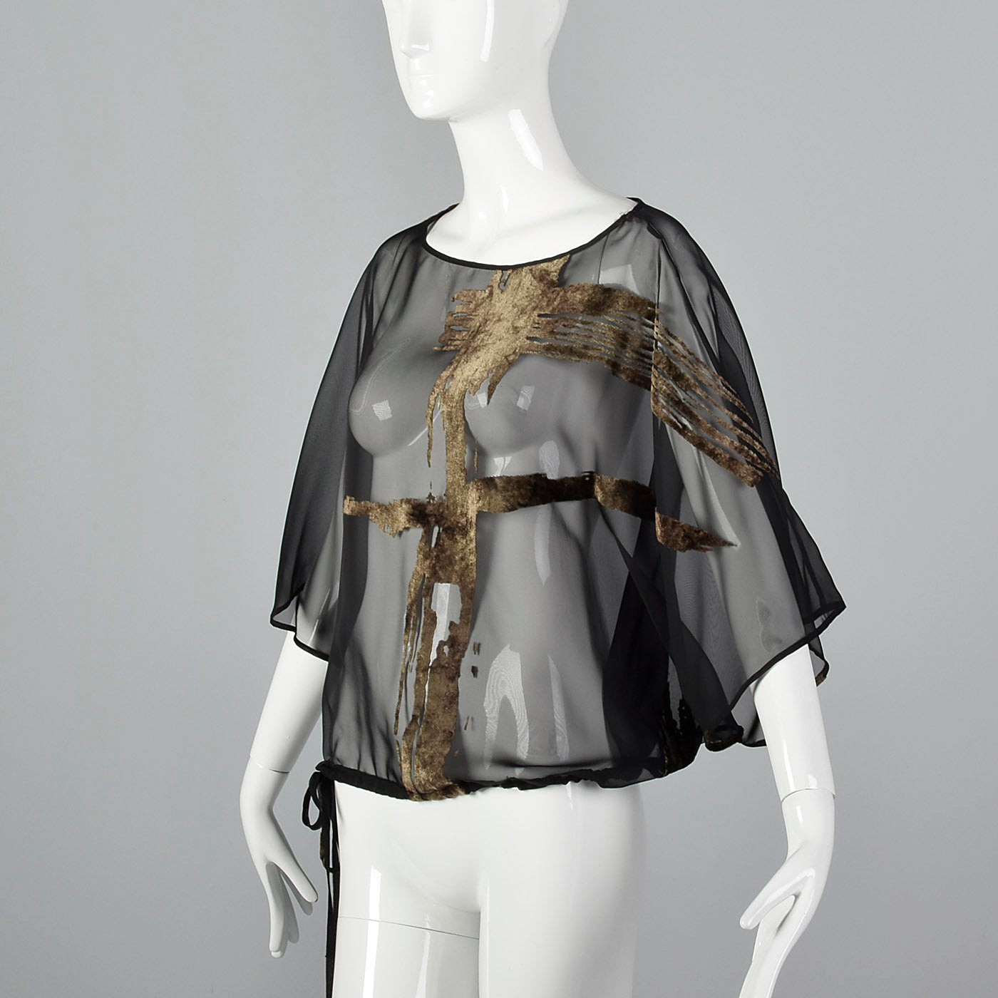 1990s Sheer Black Top with Batwing Sleeves