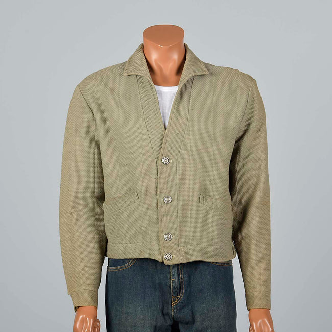 Large 1950s Men's Cardigan Jacket Olive