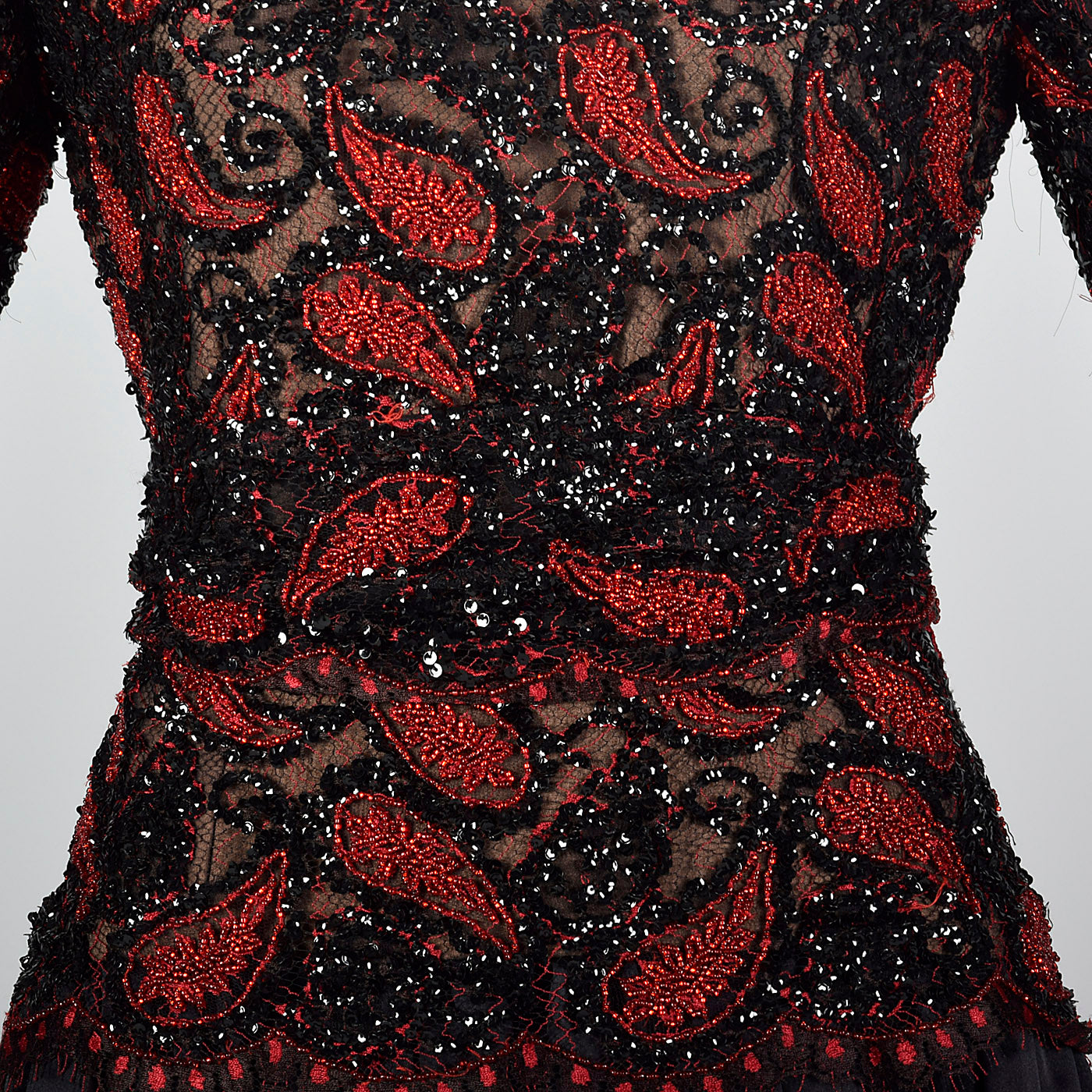 1980s Travilla Black Dress with Paisley Beaded Bodice
