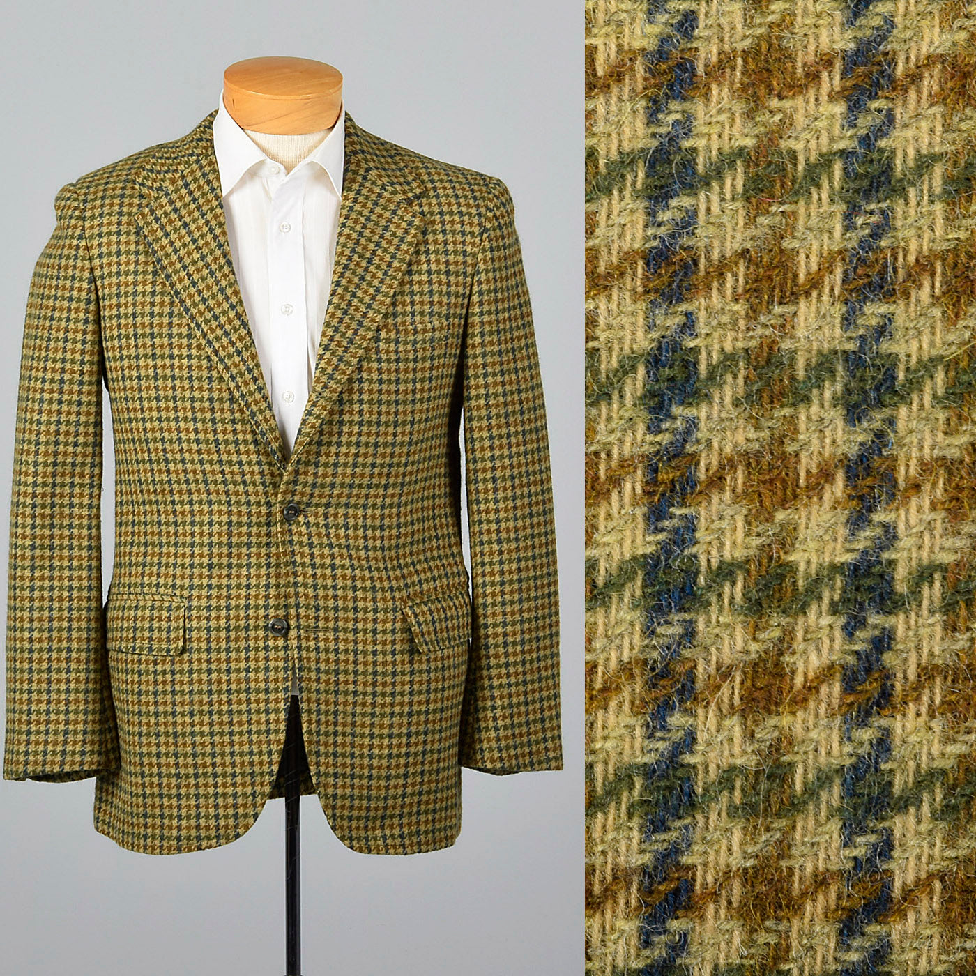 186558a47c8 1960s Mens Tweed Jacket in Gold Houndstooth – Style & Salvage