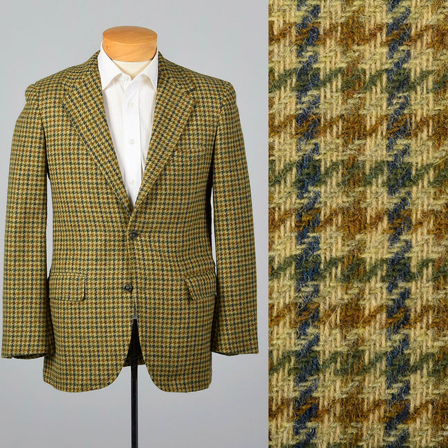 1960s Mens Tweed Jacket in Gold Houndstooth