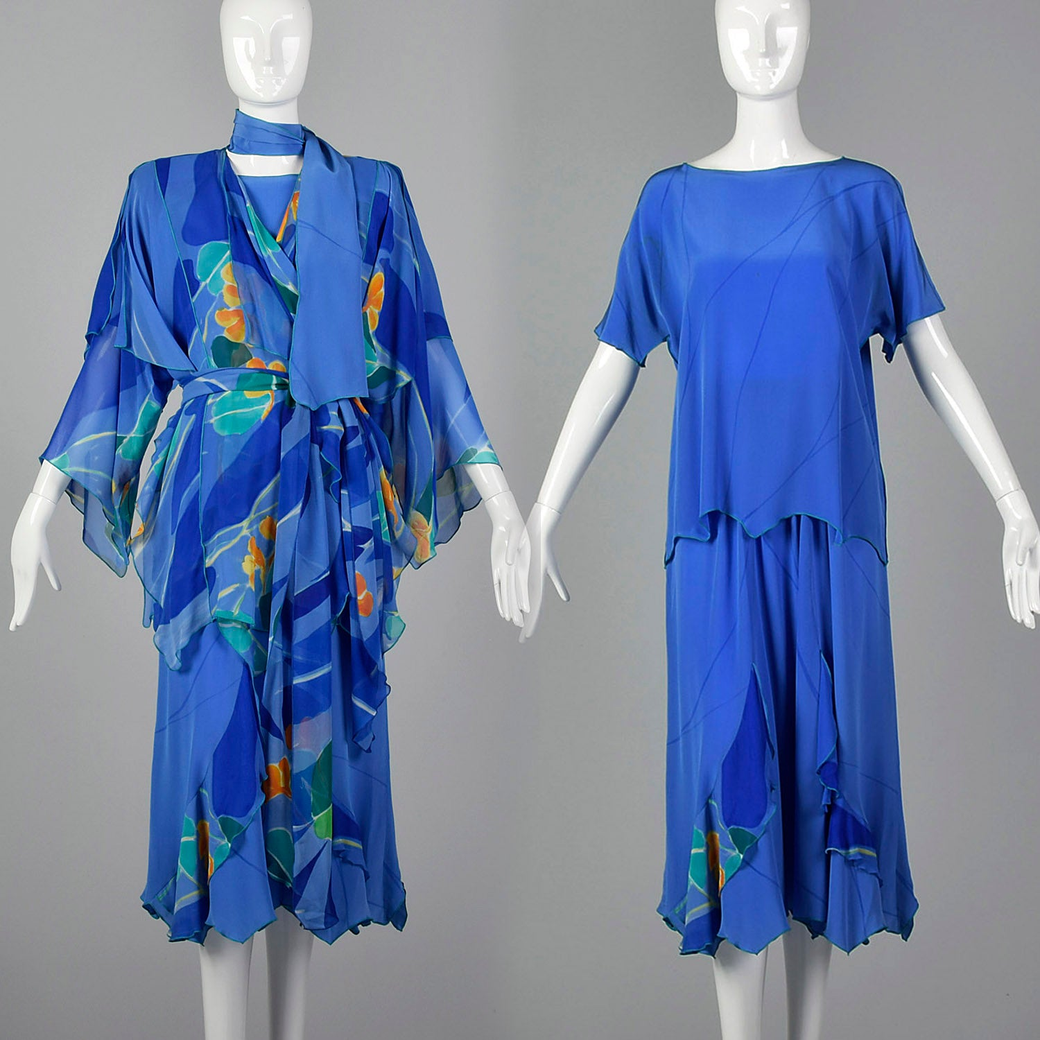 1980s Yolanda Lorenta Hand Painted Silk 3 Piece Set