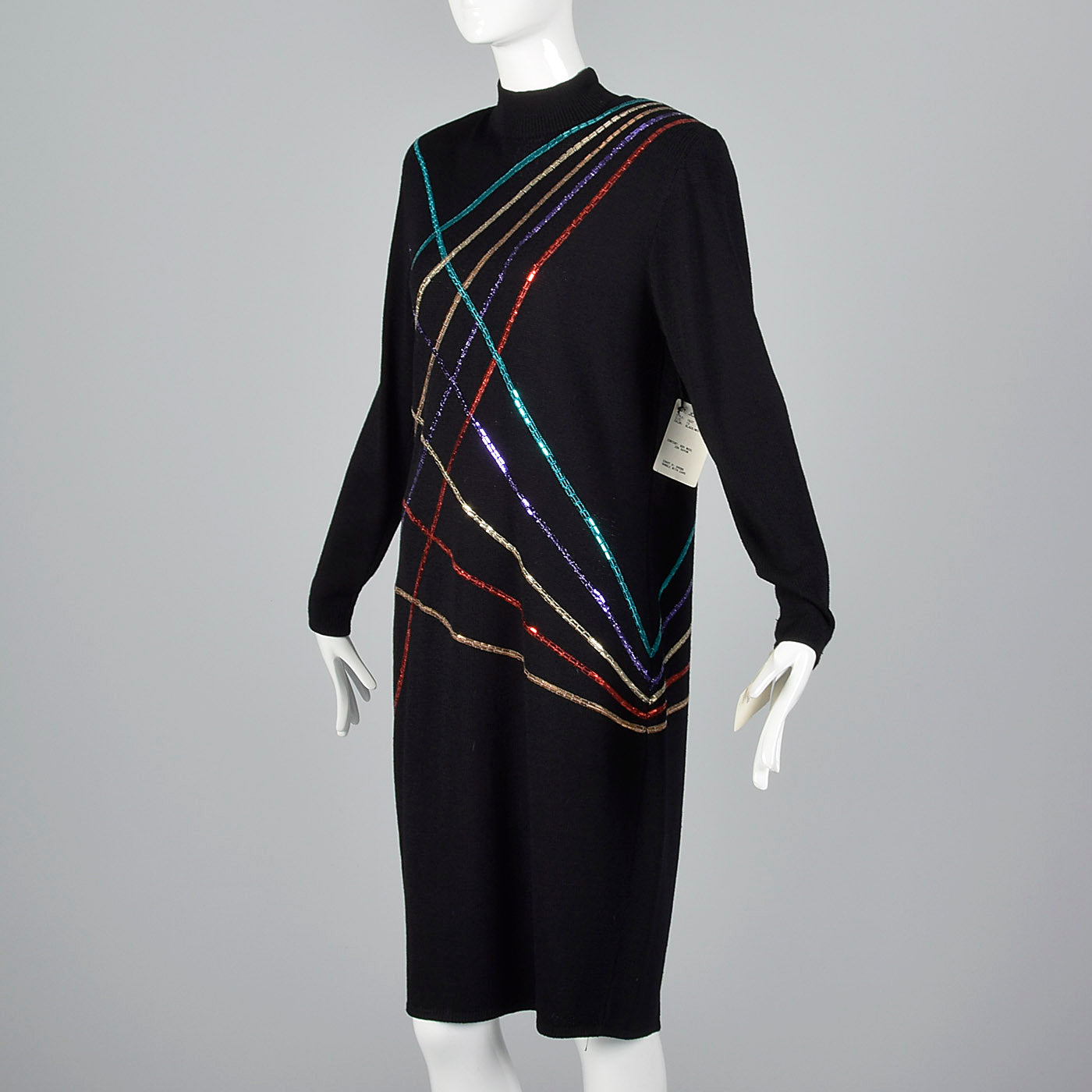 1980s St John Knit Sweater Dress with Sequin Stripes